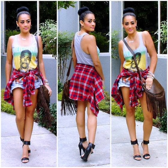 Get this look: http://lb.nu/look/5345128  More looks by Marina Hidalgo: http://lb.nu/fashionmakeup  Items in this look:  Forever 21 Tupac Shirt, Target Plaid Shirt, Go Jane Heels, Ross Dress For Less Handbag   #fashion #style #blogger #lookoftheday #lookdeldia #fashionblogger #styleblogger #moda #estilo