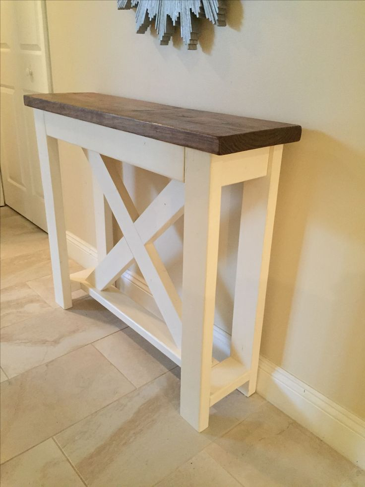 Small rustic X hall table