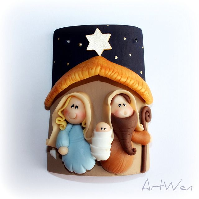 Christmas nativity ornament. Polymer clay.