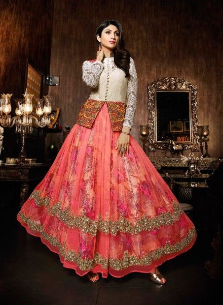 Shilpa shetty Peach designer net anarkali dress with jacket J15617