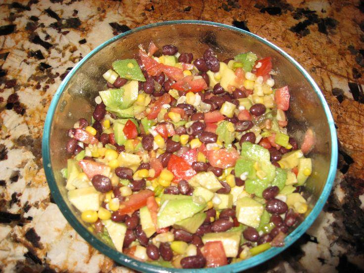 avocado, tomato, black beans, green onion, jalapeno salad , with sea ...