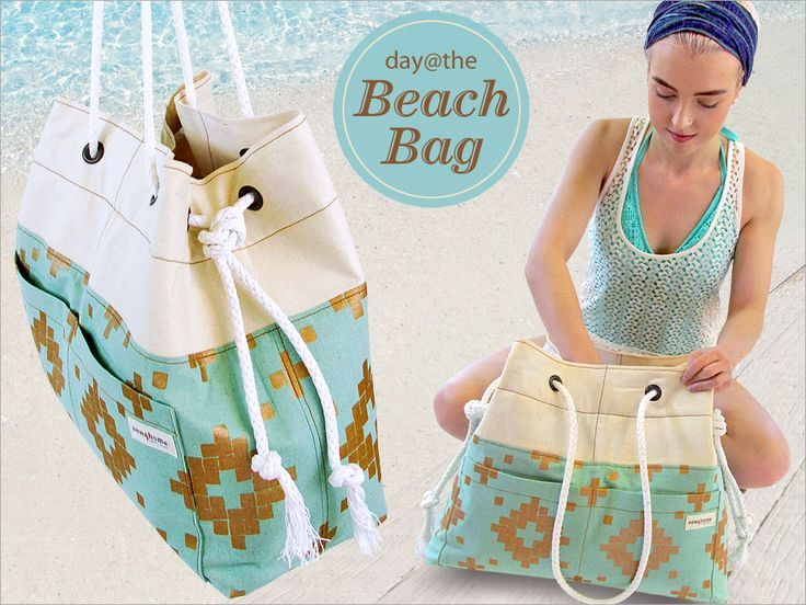Day at the Beach Bag with Rope Handles   Sew4Home