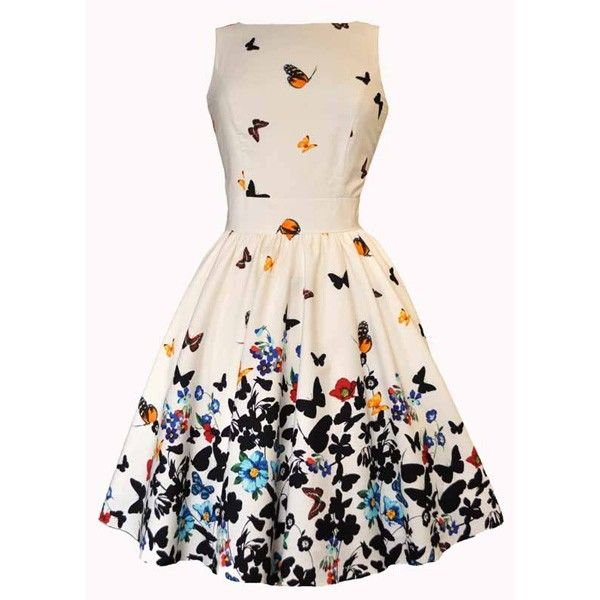 Lady V Sweet White Butterfly Tea Kleid