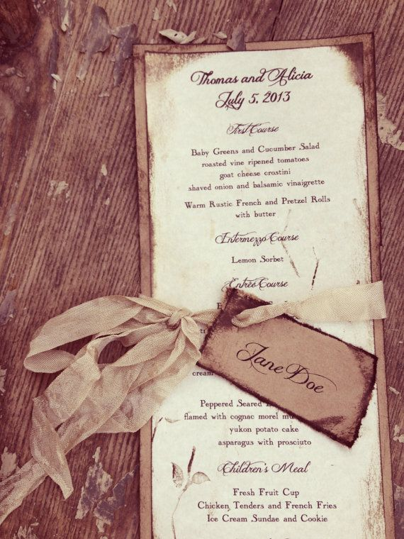 Rustic Wedding Menus Place card Wedding Menu on Etsy, $5.00