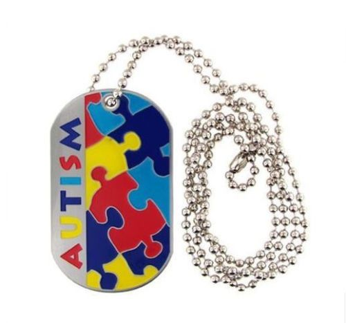 AUTISM Awareness Stainless Steel Dog Tag Necklace - Medical ID - Emergency Jewelry ASD