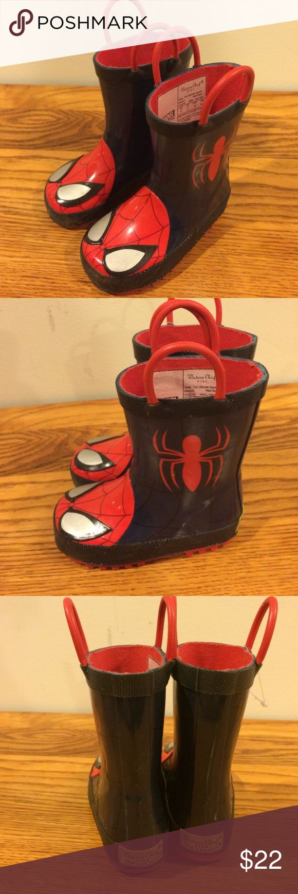 Western Chief Spider-Man rain boots size 6 Western Chief Spider-Man rain boots size 6 .  Gently used Spider-Man rain boots.  Pull on handles. Western Chief Shoes Rain & Snow Boots