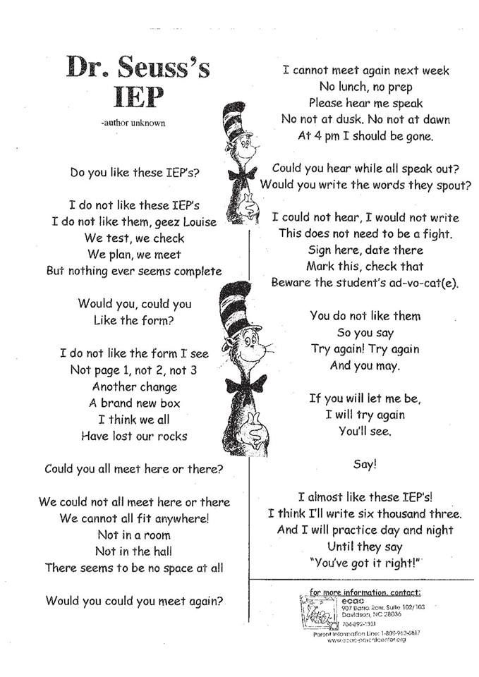 Dr. Seuss's IEP. This is so true, except I won't be writing six thousand three, day and night.