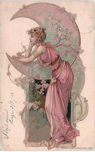 Vintage postcard Girl in pink looking over the moon