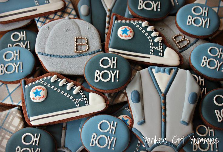 'Oh Boy' baby set. Cookies by Yankee Girl Yummies