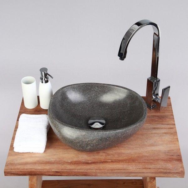 Naturstein Waschbecken Waschtisch 30 cm poliert Flußstein Waschschale Findling