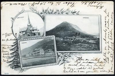 """Oppland fylke Lom kommune LOMS KIRKE, LOMSEGGEN, FOSSHEIM. 3-bilders av """"hilsen-fra""""-typen postgått 1901"""