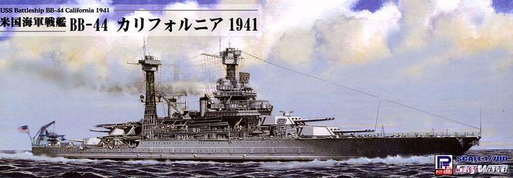 [閉じる] WWII 米海軍 戦艦 BB-44 カリフォルニア 1941 (プラモデル) パッケージ1
