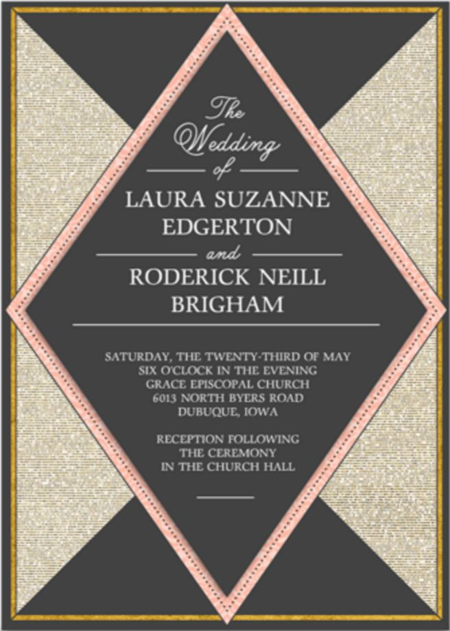 funny wedding invitation mail%0A Invite family and friends to celebrate your big day with the Pink and Gold wedding  invitation from Ink  u     Main  We u    ll even address and mail them out for you