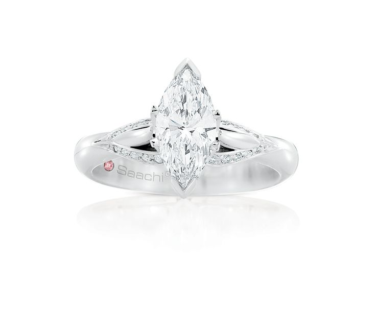 Saachi' 'Angelique' was inspired by the love of the exquisite Marquise Cut Diamond. The flowing micro set round brilliant cut diamonds add balance and movement to this heavenly design.