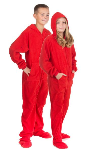 63e59a2ca Hoodie Footed Onesie Red Fleece Pajamas for Boys   Girls
