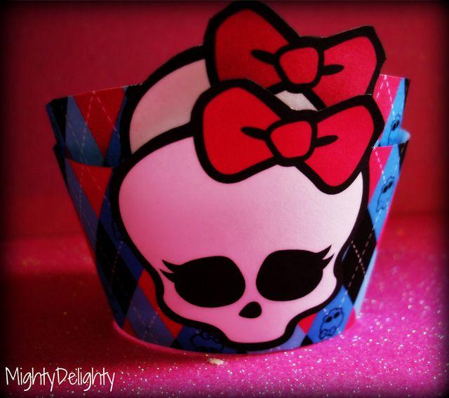 Free Printable Monster High Cupcake Wrappers Skullette by MightyMorgan, via Flickr