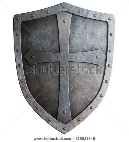 Medieval Knights Shield   medieval crusader knight's shield isolated on white - stock photo