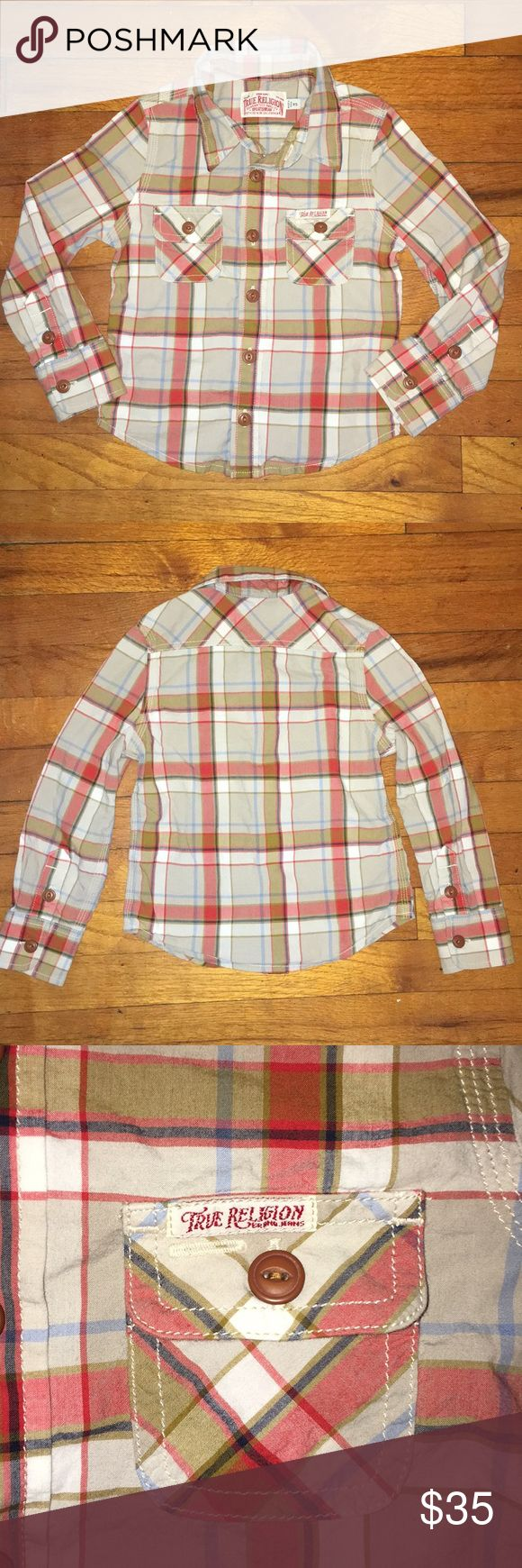 True Religion Boys Plaid Button Shirt XS This Boys True Religion Plaid Shirt is so cute! Your little one will be so stylish & Hip! Size XS (would fit a Toddler ages 2-4)  100% Cotton  It's it great Condition! Only one tiny (I mean tiny) little hole right above the brand label on the inside of the back Shirt (see last pic)  You honestly can not see it. I just like to be very thorough when listing my items.  Please check out my other items for sale! True Religion Shirts & Tops Button Down…