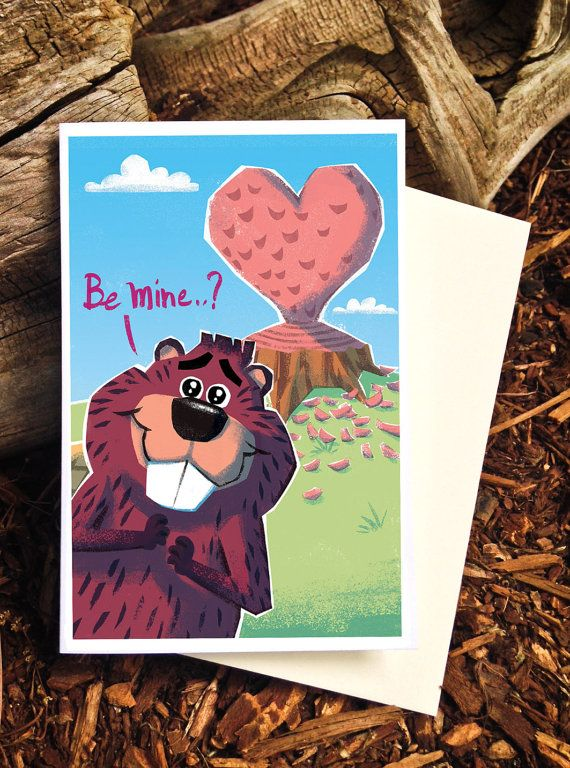 Beaver Valentine Card - by Pickle Punch