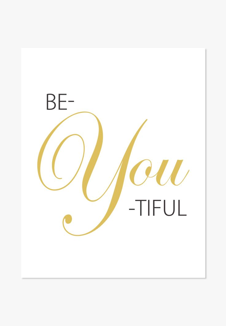 Beautiful (be-you-tiful) typographic poster in black and gold. Stylish poster with a modern look. - Archival full-color print on matte cover paper - Sizes: 5x7 inches, 8x10, 11x14, 12x18, 16x20, 18x24