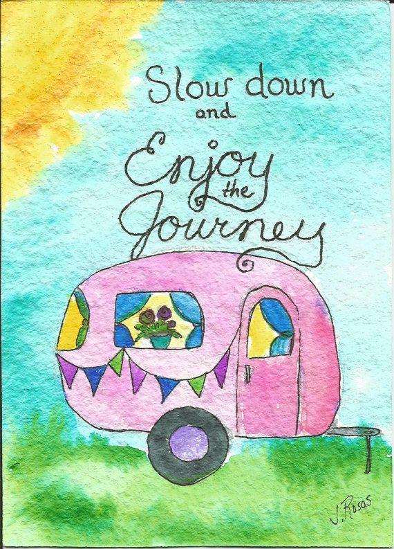 Whimsical Original Watercolor Retro Vintage Camper Painting Enjoy the Journey