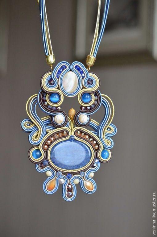 """Купить Сутажный комплект """"Самарканд"""" - разноцветный, сутажные украшения, комплект украшений, кулон, кулон с камнем"""