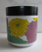 Vintage Egizia Italy Milk Glass Container Sealing Lid Floral Design 11.5cms