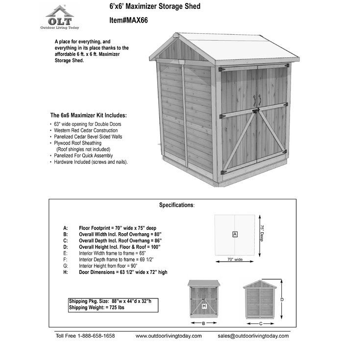 Maximizer 6 Ft W X 6 Ft D Wooden Storage Shed Wooden Storage Sheds Shed Storage Shed