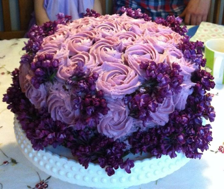 Lemon and blueberry cake with spring lilacs for my daughters 7th birthday.