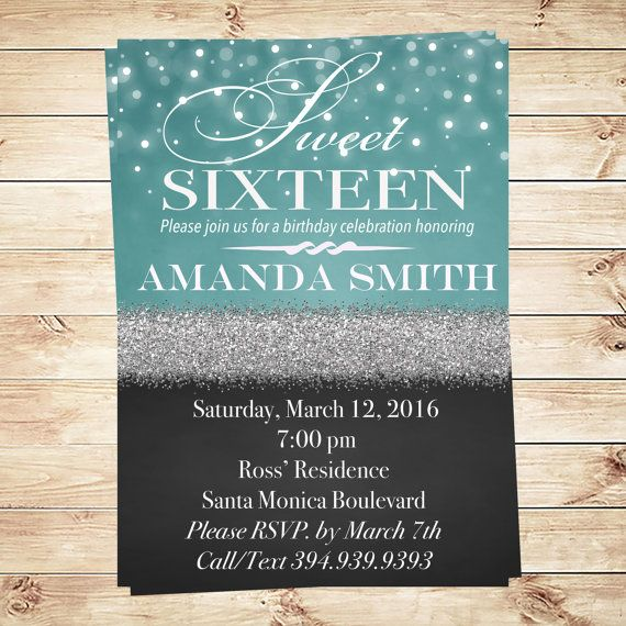 Choose a personalized invitation Sweet Sixteen  for your big Sweet Sixteen. What stunning lights and black glitter themed Sweet 16 party!  See more Sweet 16 Invitations & 16 teen girls at https://www.etsy.com/shop/ArtPartyInvitation!