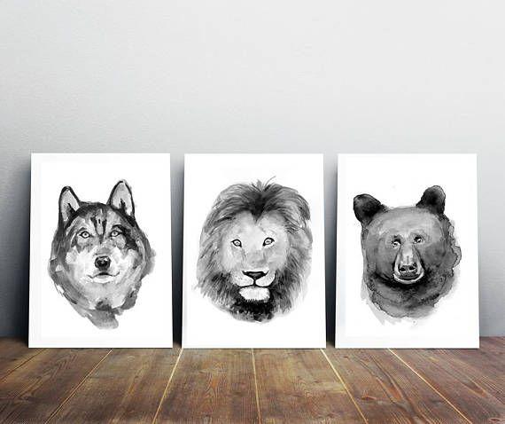 Wolf beer leeuw schilderij  dier portret  wilde dieren