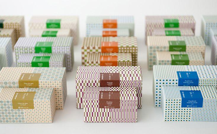 角にアナログ感のある丸みを与えた、お茶菓子のパッケージ例