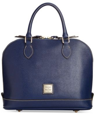 Dooney & Bourke Saffiano Zip Zip Satchel $170.99 Turned out in durable Saffiano leather with a modern dome shape, this exquisite Dooney & Bourke Zip Zip Satchel really works the room. Accented with gilded hardware and crisp contrast stitching, the optional shoulder strap offers styling versatility.