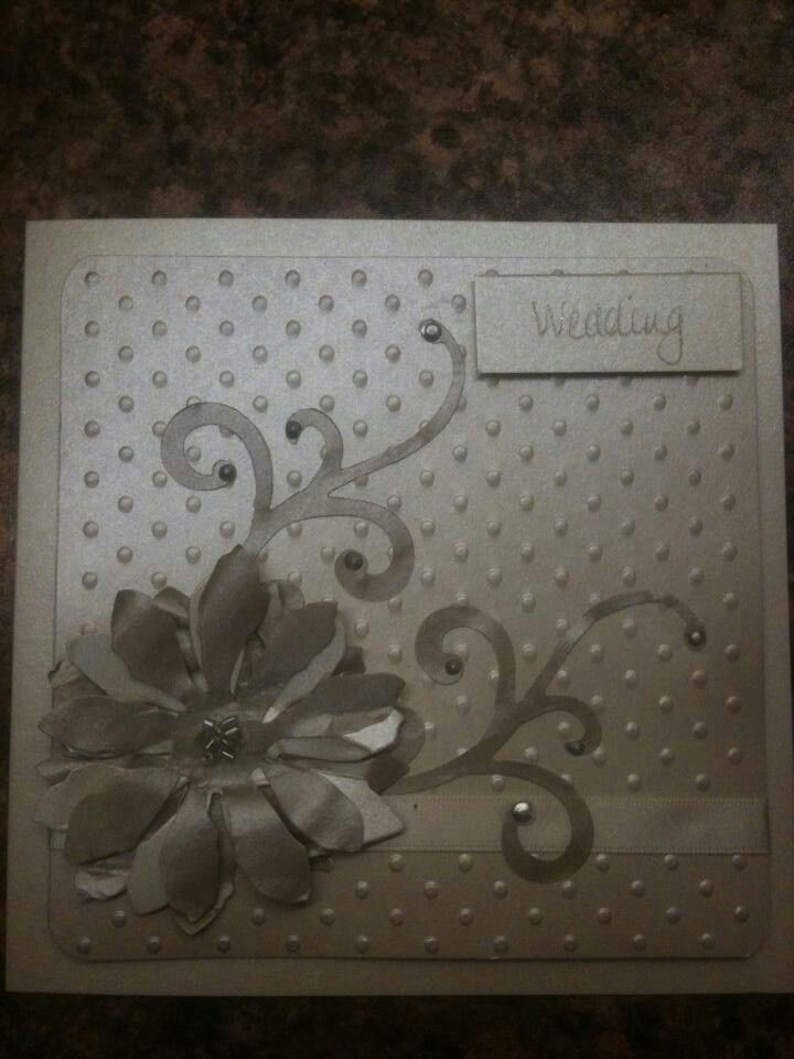 Wedding invitation i made using Tim holtz dies, dotty embossing, distressing using pigment inks and finished with liquid pearls and bugle beads