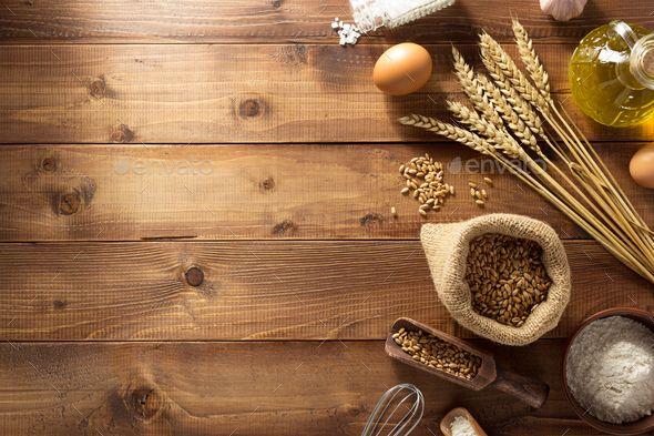 Bakery Products On Wood Wood Background Photography Food Background Wallpapers Food Photography Background