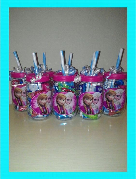8 Disney Frozen Mason Jars, Frozen Candy Bag, Pre-filled Frozen Loot Bag, Anna, Elsa, and Olaf, Frozen Cup on Etsy, $80.50: