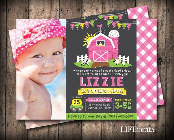 Farm Invitations Old McDonald Invitations Girl Farm by LIFEvents, $12.00