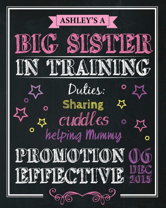 Sibling Announcement Artwork Big Sister Big by AmyGemptonDesign