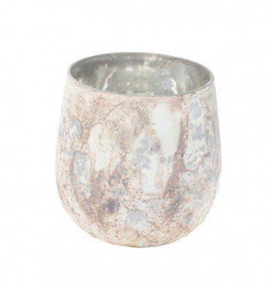 Stor hvid oxideret Fyrfadsglasstage