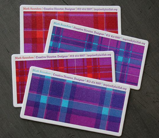 Plaid.: Design Inspiration, Card Designs, Patterns Business, Business Card Design, Plaid Patterns, Graphics Design, Plaid Business, Business Cards Design, Letterpresses Business Cards