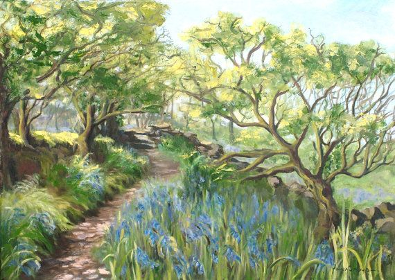 #Landscape Oil Print - A4 - The #Bluebell Walk, Cornwall, 5% of profits to Cornwall Air Ambulance Trust