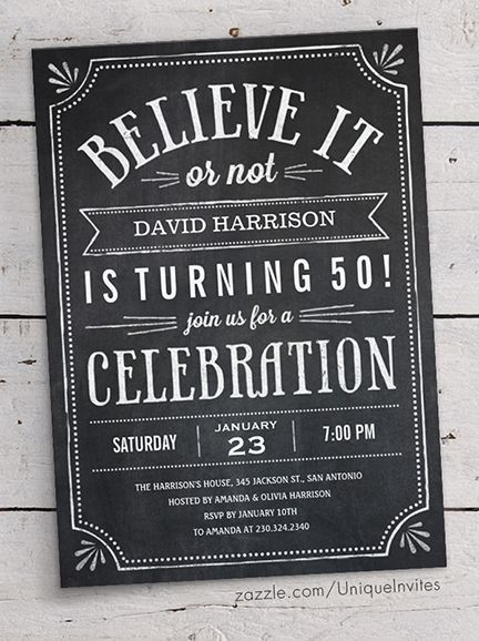 Believe It or Not Birthday Invitations for Adults - Chalkboard Lettering Design - 30th, 40th, 50th, 60th, 70th, 80th                                                                                                                                                                                 Más