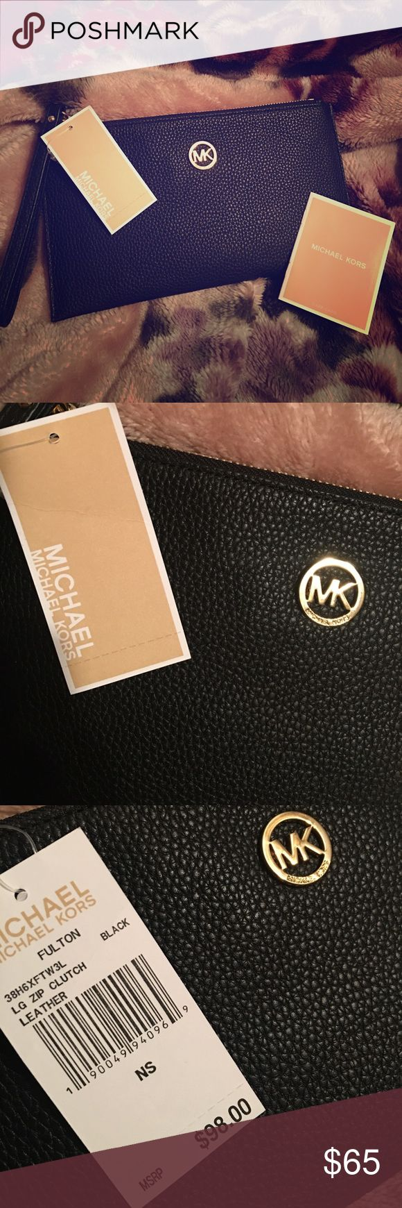 Michael Kirs Fulton Clutch NWT Michel Kors Fulton Lg Zip Clutch......Black Leather.......Retail Value $98......Gold Hardware.....6 card slots......Wristlet Strap Michael Kors Bags Clutches & Wristlets