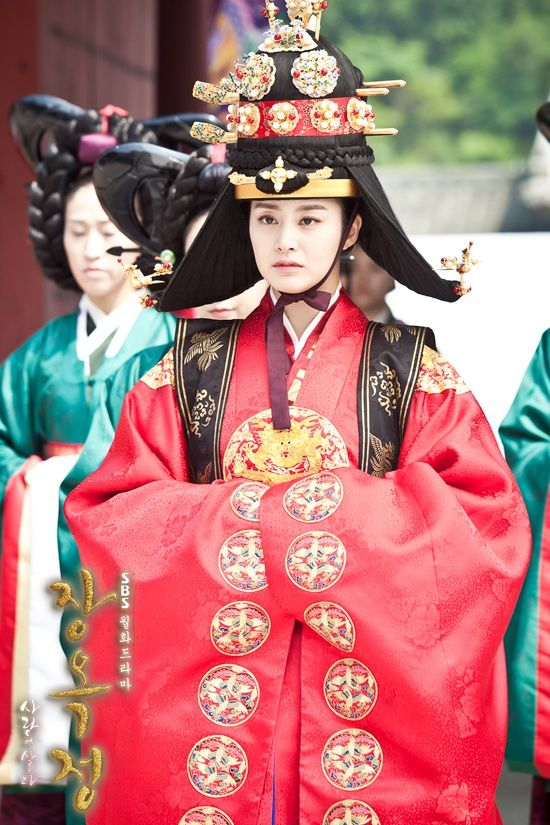 Korean drama [Jang Ok-jung, Living by Love] = 희빈장씨 [Lady Jang Hui-bin] - 김태희(Kim Tae-hee) in royal #wedding #Hanbok