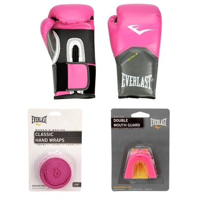 Kit Everlast Luva de Boxe Everlast Pro Style - 8 oz + Bandagem Elástica + Protetor Bucal - Rosa+Grafite