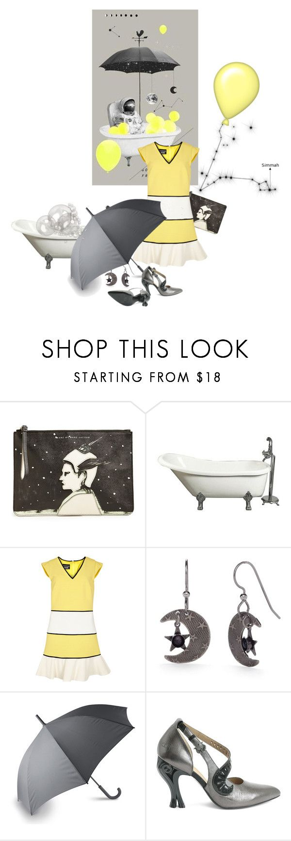 """good afternoon from space"" by sharmarie ❤ liked on Polyvore featuring Marc by Marc Jacobs, Boutique Moschino, Silver Forest, LEXON, yellow, black, blackyellow and MastersOfMimicry"