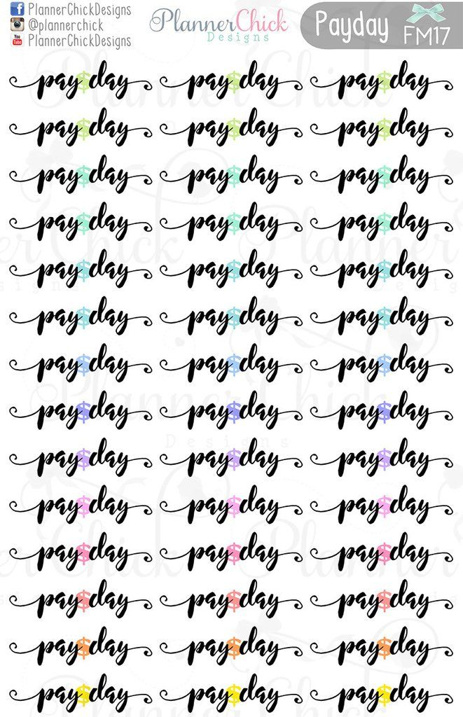 Pay Day Planner stickers. Fits perfectly in the vertical Erin Condren Life Planner and the Happy Planner!