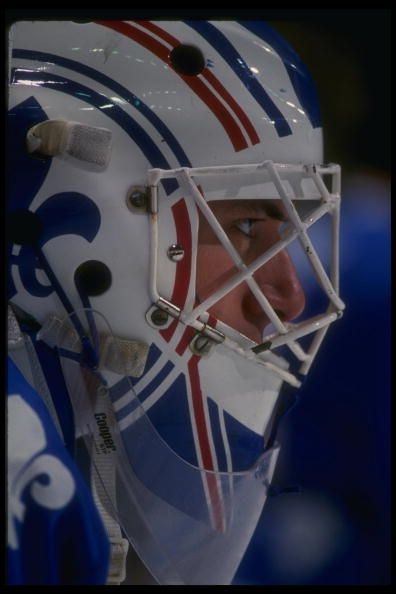 Goaltender Stephane Fiset of the Quebec Nordiques during a game versus the St Louis Blues at St Louis Arena in St Louis Missouri Mandatory Credit...