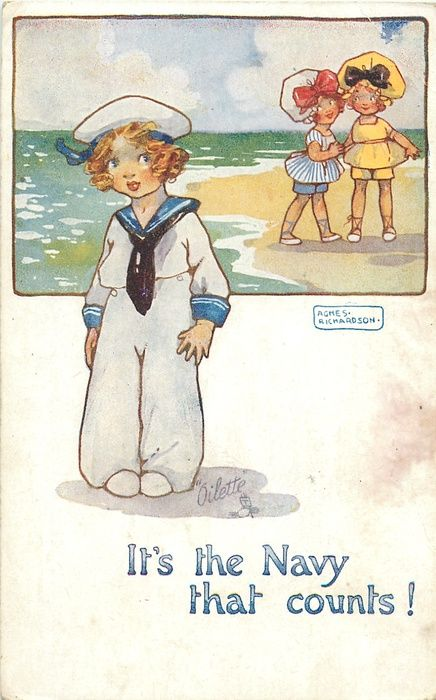 IT'S THE NAVY THAT COUNTS! two girls in top inset, girl in sailor suit below - TuckDB  art  agnes  richardson