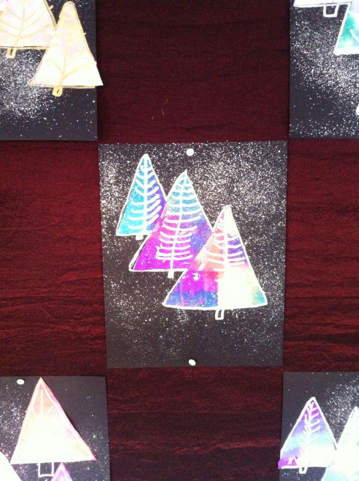 Kerstbomen met vloeipapier